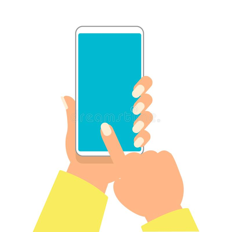 La mano della donna sta tenendo lo smartphone ed indicando sullo schermo in bianco per aggiunga l'illustrazione di vettore dell'o illustrazione di stock