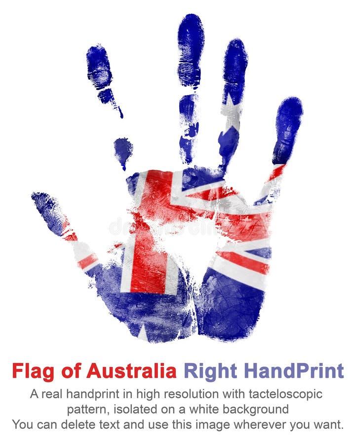 La mano derecha de la impresión en los colores de la bandera australiana en el fondo blanco fotografía de archivo