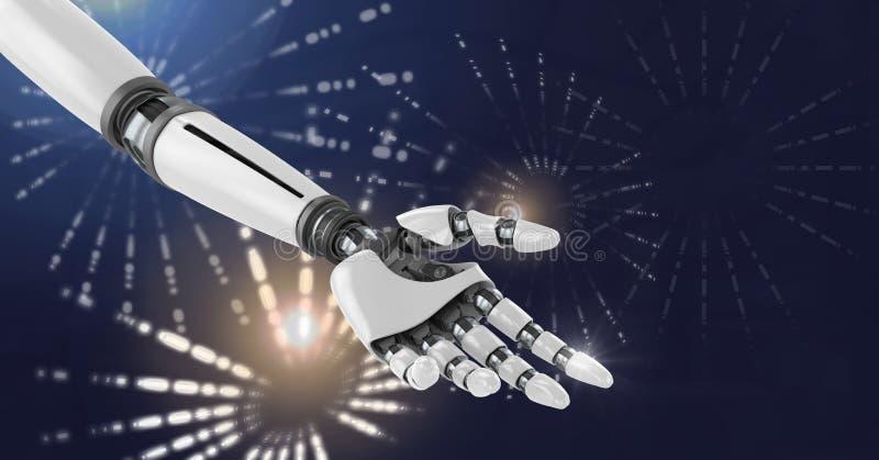 La mano di androide del robot con il cerchio d'ardore del fuoco d'artificio modella illustrazione vettoriale