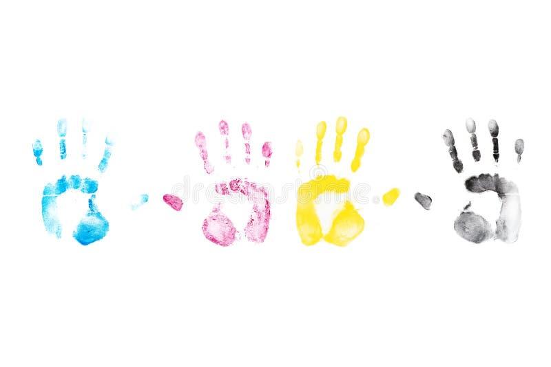 La mano di colore stampa su fondo bianco immagine stock libera da diritti