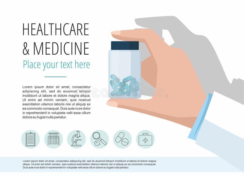 La mano di medico che mostra la bottiglia di pillole Modello di vettore con le icone ed il testo illustrazione vettoriale