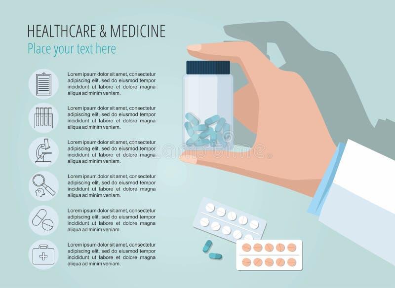 La mano di medico che mostra la bottiglia di pillole Modello di vettore Icone mediche stabilite illustrazione di stock