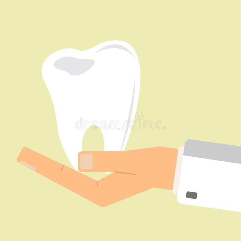 La mano di medico che tiene i denti umani Concetto di sanità illustrazione vettoriale