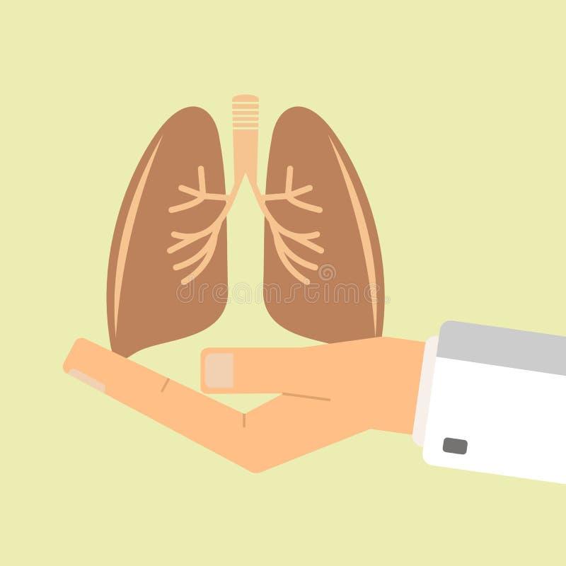 La mano di medico che tiene i polmoni umani Concetto di sanità illustrazione vettoriale