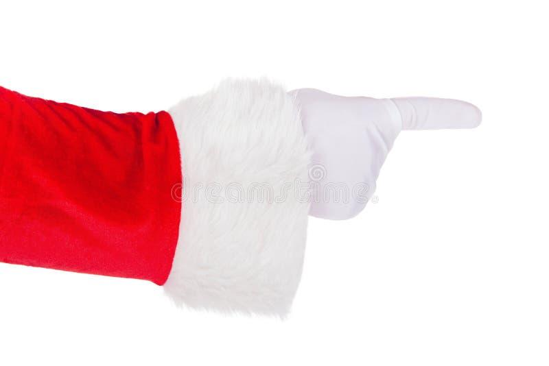 La mano di Santa Claus che indica le sue dita gesture isolato su bianco immagini stock