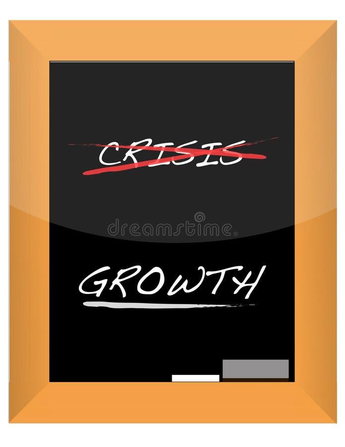La mano di sviluppo & di crisi scrive sulla scheda di gesso illustrazione vettoriale