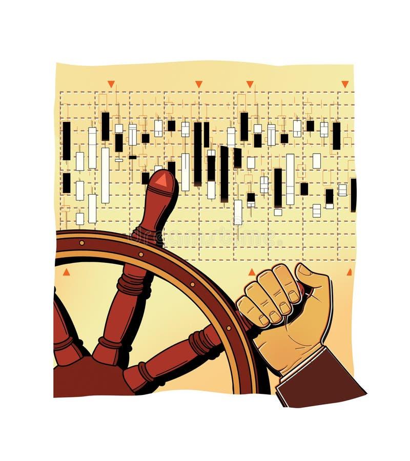 La mano di un uomo che gira una ruota di legno antica Controllo manuale Investimenti, mercato azionario, fondi di investimento mu illustrazione di stock