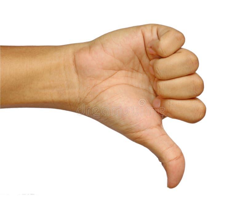 La mano di un uomo che segnala un pugno dei pollici giù isolato su un fondo bianco immagini stock libere da diritti