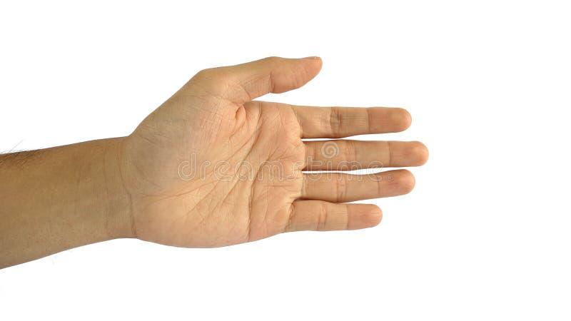 La mano di un uomo con un simbolo su fondo bianco, le manifestazioni della mano maschio passa il gesto di scossa fotografia stock libera da diritti