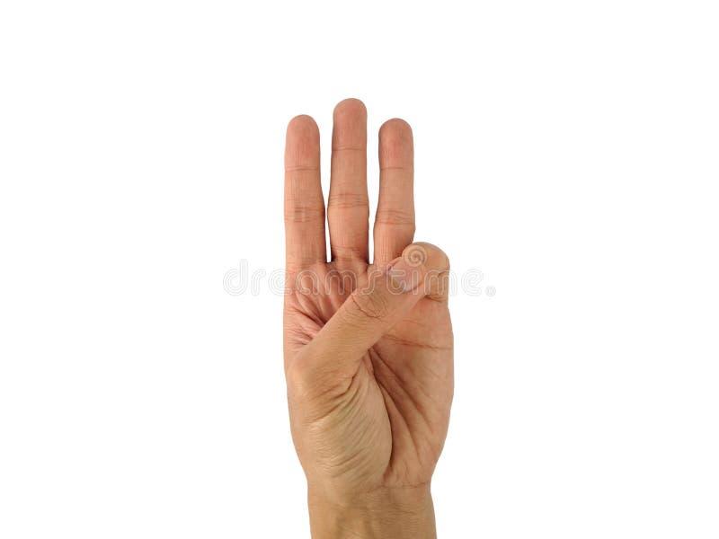 La mano di un uomo con un simbolo su fondo bianco fotografie stock