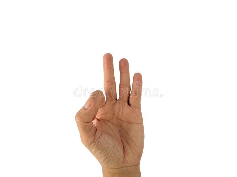 La mano di un uomo con un simbolo su fondo bianco immagini stock