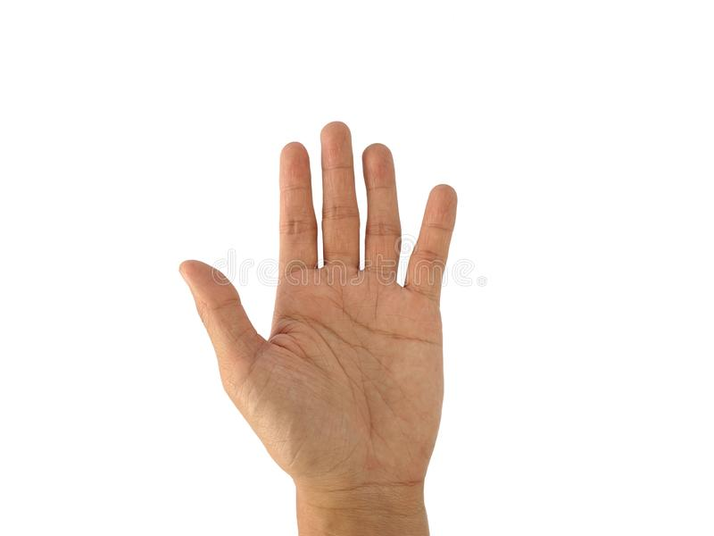 La mano di un uomo con un simbolo su fondo bianco immagine stock libera da diritti