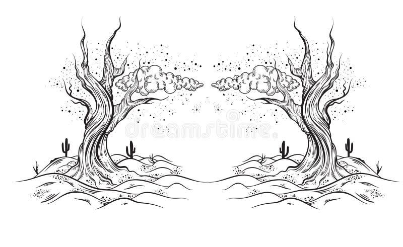 La mano di vettore ha schizzato l'illustrazione di paesaggio abbandonato con l'albero morto royalty illustrazione gratis