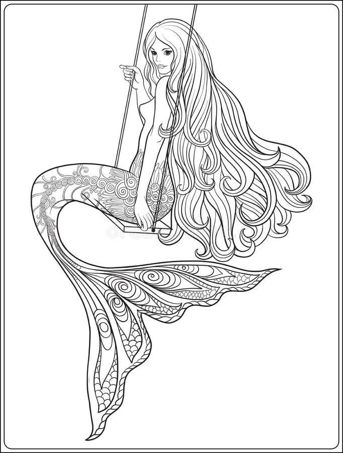La mano dibujó la sirena con el pelo largo Línea común ejemplo del vector stock de ilustración