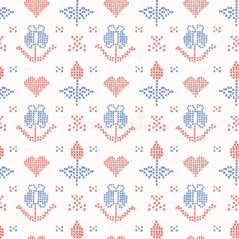 La mano dibujada borda la puntada de la cruz de Tulip Stitches Seamless Vector Pattern libre illustration