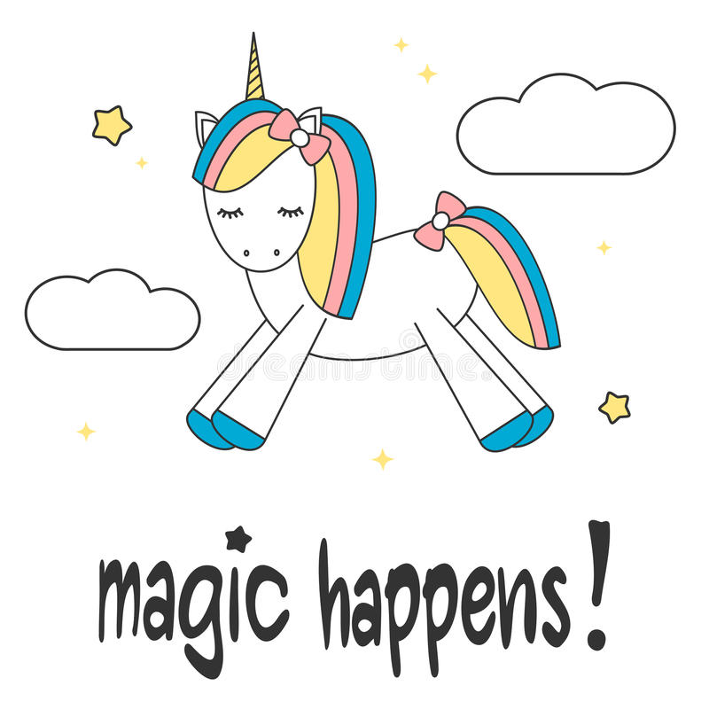 La mano dibujada poniendo letras a magia del lema sucede tarjeta de motivación con unicornio colorido de la historieta linda en e libre illustration