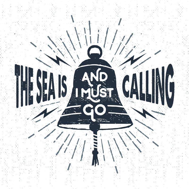 La mano dibujada texturizó la etiqueta del vintage con el ejemplo del vector de la campana de la nave stock de ilustración
