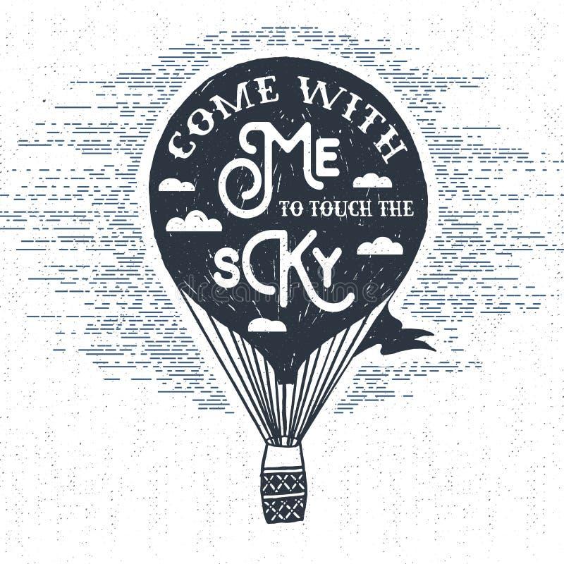 La mano dibujada texturizó la etiqueta del vintage con el ejemplo del vector del globo del aire caliente stock de ilustración