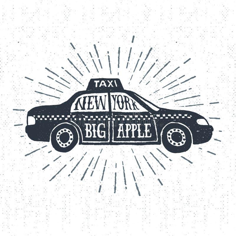La mano dibujada texturizó la etiqueta del vintage con el ejemplo del vector del taxi stock de ilustración