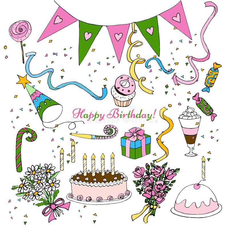 La mano disegna il clipart della festa di compleanno, decorazione isolata di progettazione di insieme di scarabocchio illustrazione di stock