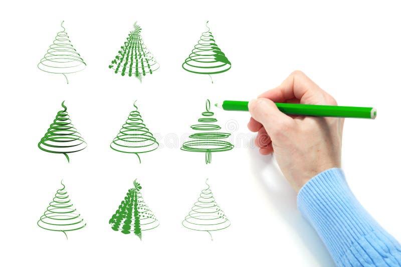 La mano disegna un abete verde illustrazione di stock