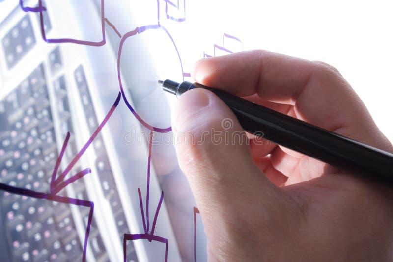 La mano drena sobre un vidrio transparente fotos de archivo