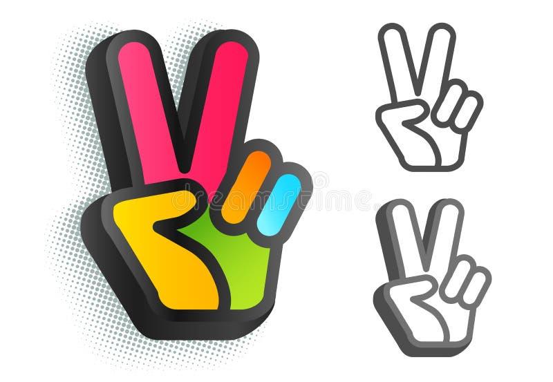 La mano e due dita sono come il simbolo di pace royalty illustrazione gratis