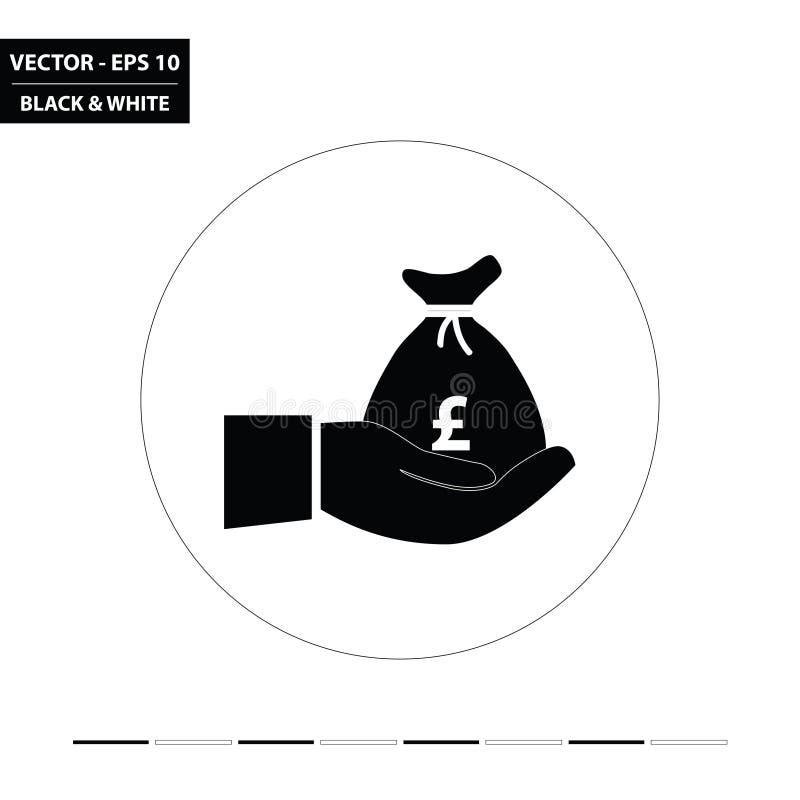 La mano ed i soldi insaccano - l'icona piana in bianco e nero BRITANNICA di sterlina royalty illustrazione gratis
