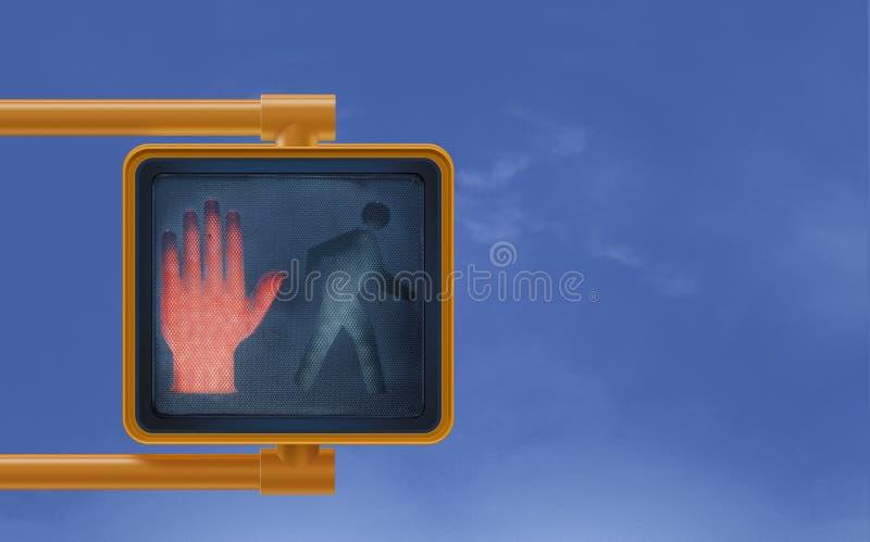 La mano encendida roja de la parada no camina a través de la calle urbana de la ciudad stock de ilustración