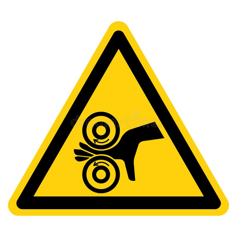 La mano enreda la muestra izquierda del símbolo, ejemplo del vector, aislante en la etiqueta blanca del fondo EPS10 stock de ilustración