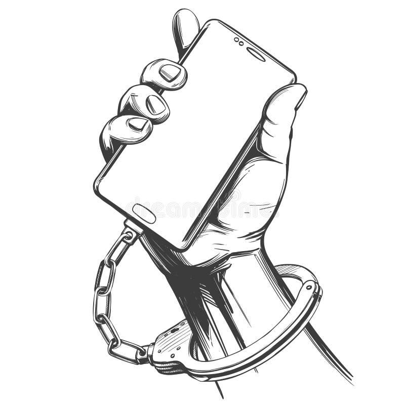 La mano esposó al smartphone, apego social de los medios, bosquejo exhausto del ejemplo del vector de la mano del icono de la tec stock de ilustración