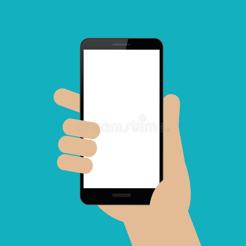 La mano est? sosteniendo un smartphone negro stock de ilustración