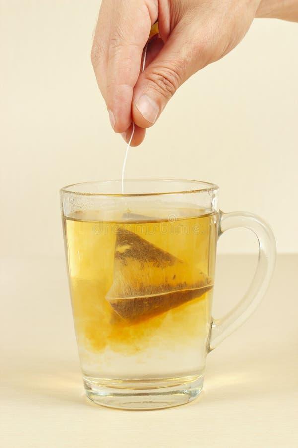 La mano fa la bustina di tè in tazza di acqua bollente fotografia stock libera da diritti