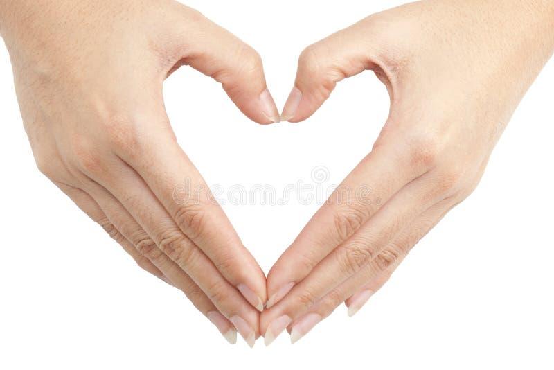 La mano fa una figura del cuore immagine stock libera da diritti