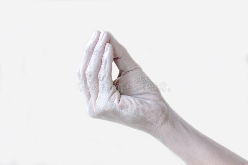 La mano femenina con los fingeres cerrados gesticula foto de archivo libre de regalías