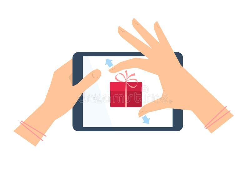 La mano femenina con PC de la tableta está estirando la caja de regalo de la celebración libre illustration