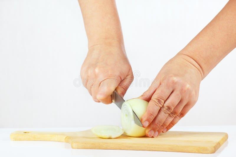 La mano femenina corta la cebolla cruda en el fondo blanco imagenes de archivo