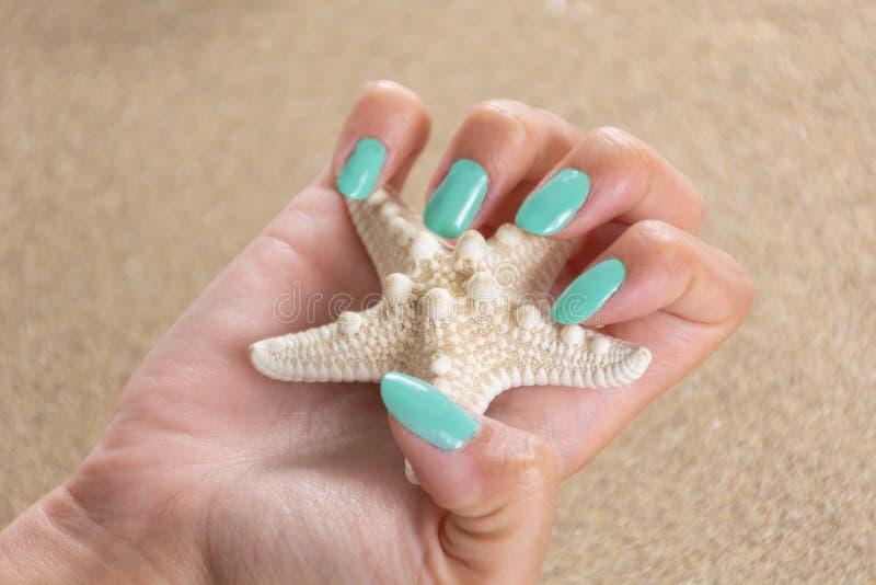 La mano femenina joven con los clavos de un color de la turquesa pule sostener estrellas de mar y arena de mar en el fondo imagenes de archivo
