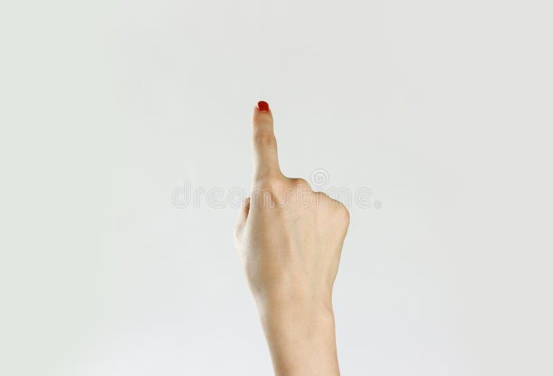 La mano femenina muestra la dirección en fondo gris Cl fotografía de archivo