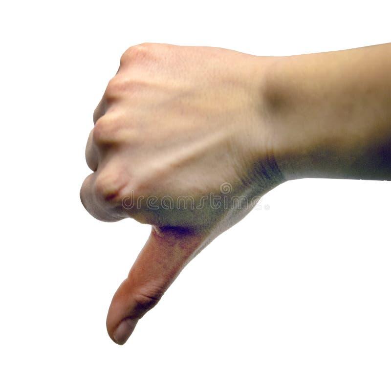 La mano femenina que muestra el pulgar abajo gesticula imagen de archivo