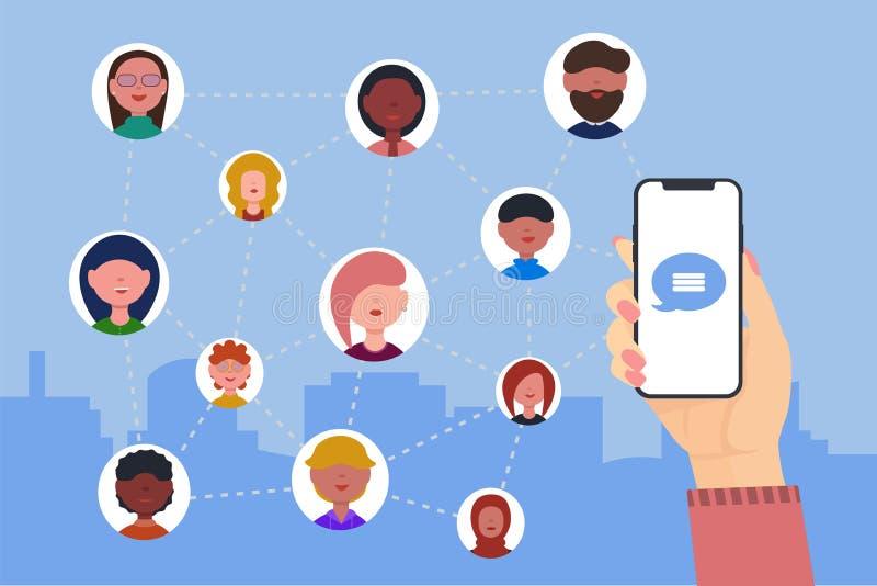 La mano femenina sostiene el teléfono Red social Conexión a internet con los amigos ilustración del vector