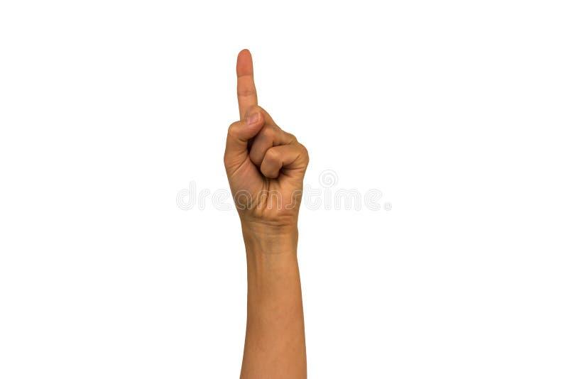 La mano femminile su un fondo bianco mostra i gesti differenti Isolante fotografia stock libera da diritti