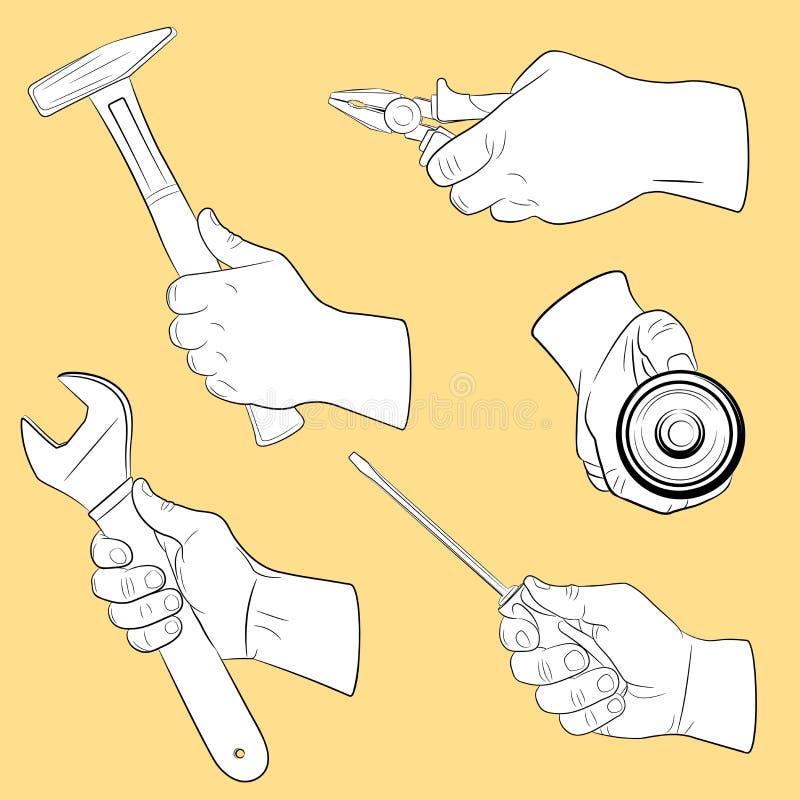 La mano filetea funcionando ilustración del vector