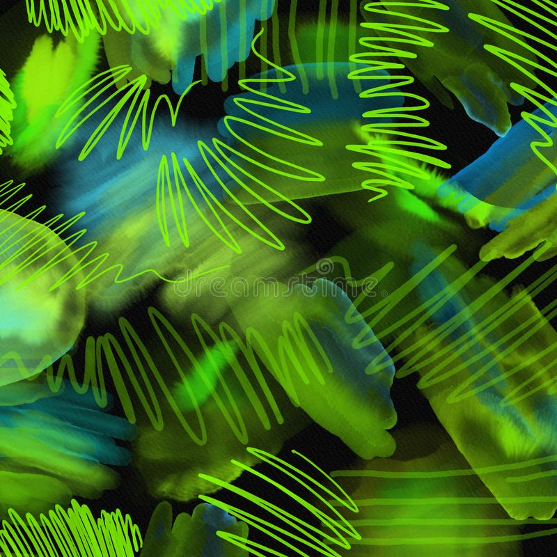 La mano geométrica abstracta 80s y 90s dibuja el modelo en fondo negro Modelo de la pintura del cepillo de la acuarela Modelo abs libre illustration