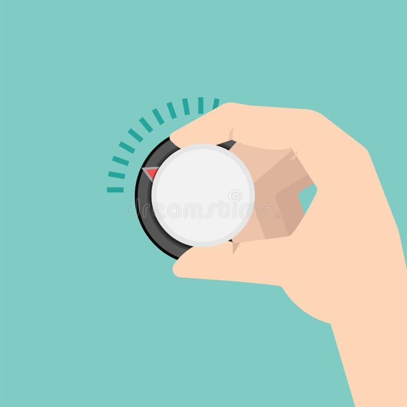 La mano gira il regolatore o il khob della temperatura di controllo di clima illustrazione di stock