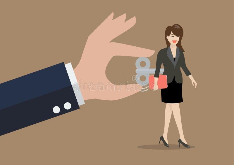 La mano gira a la mujer de negocios con llave de la conclusión en ella detrás ilustración del vector