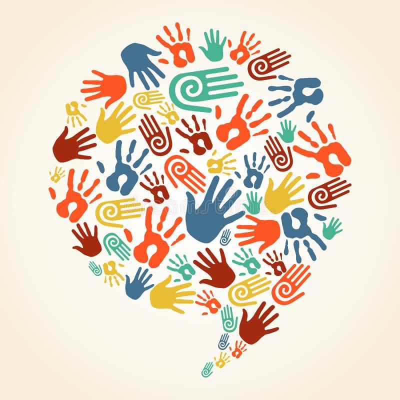 La mano global de la diversidad imprime la burbuja del discurso stock de ilustración