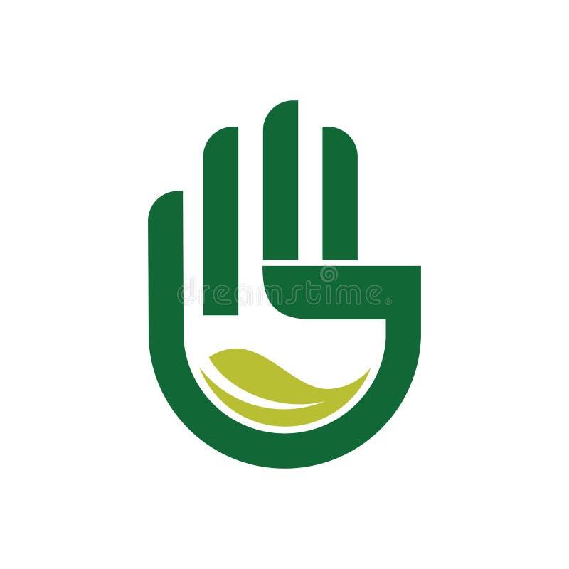 La mano guarda va ecología verde de la hoja ahorra el logotipo del mundo stock de ilustración