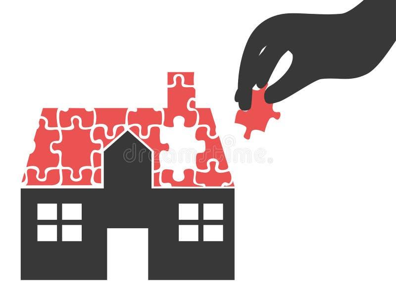 La mano ha preso il pezzo di puzzle della casa royalty illustrazione gratis