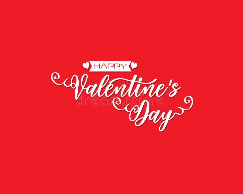 La mano ha schizzato il testo felice di San Valentino come il distintivo/icona del logotype di San Valentino Manifesto/carta/invi illustrazione vettoriale